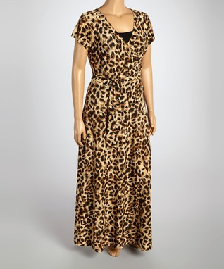 Brown Leopard Wrap Dress - Plus