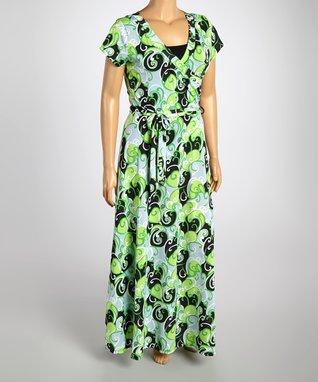 Green & Black Swirl Wrap Dress - Plus