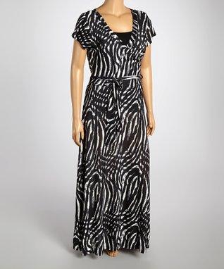 Black & Ivory Swirl Wrap Dress - Plus