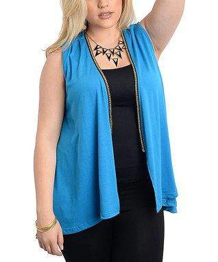 Sky Blue Sheer Ruffle Button-Up Top - Plus