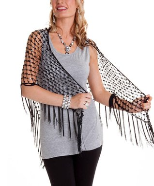 Black Net Fringe Shawl