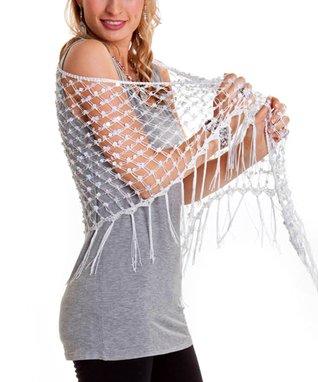 White Net Fringe Shawl