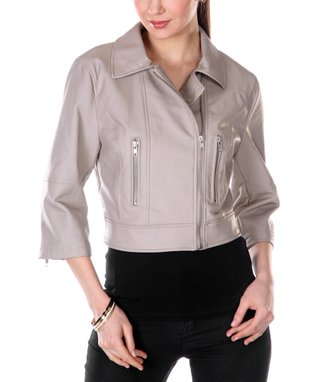 Beige Three-Quarter Sleeve Crop Faux Leather Jacket