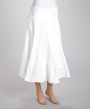 Zashi White Embroidered A-Line Skirt - Women