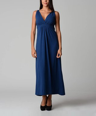 Navy Blue Empire-Waist Maxi Dress