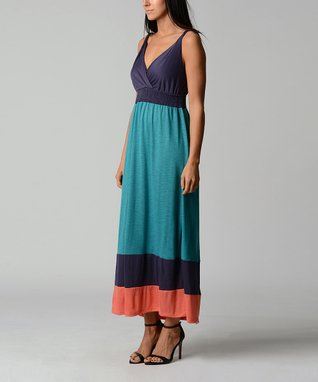 Blue & Turquoise Spell Surplice Maxi Dress