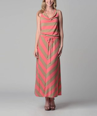 Pink & Beige Chevron Maxi Dress