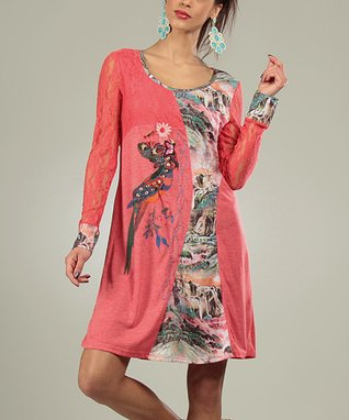 Coral Lace Cathy Scoop Neck Dress