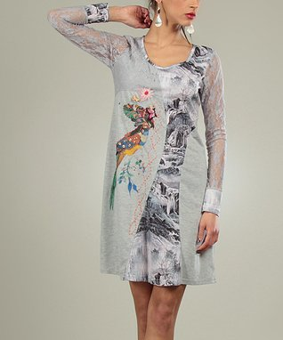 Gray Lace Cathy Scoop Neck Dress