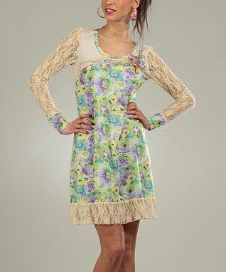 Beige Lace Floral Kemy Scoop Neck Dress