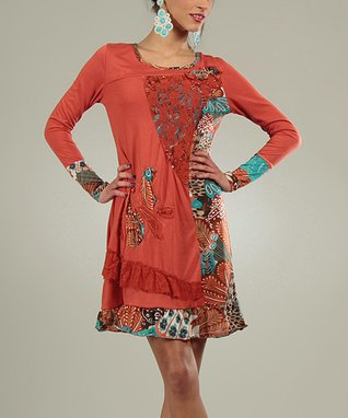Rust Patchwork Coraline Scoop Neck Dress