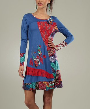 Blue Patchwork Coraline Scoop Neck Dress