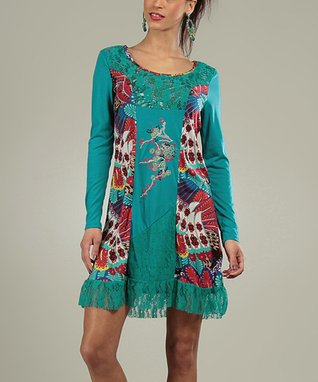Blue Duck Lace Ruffle Virginie Scoop Neck Dress