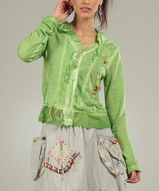 Green Ruffle Faustine Top