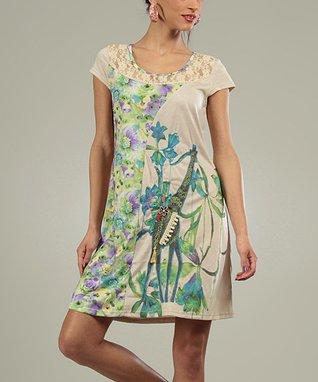 Beige & Green Lace Vera Scoop Neck Dress