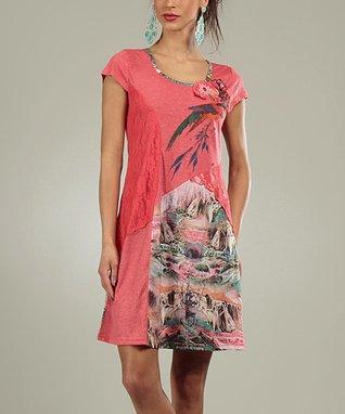 Pink Lace Mona Scoop Neck Dress