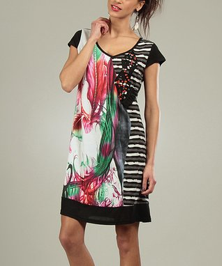 Black & White Floral Stripe Belle Scoop Neck Dress