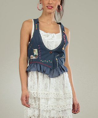 Blue Embellished Sarah Vest