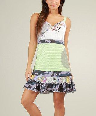 Green & White Ruffled Jeanne V-Neck Dress