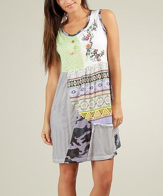 Green & White Patchwork Cyrielle Scoop Neck Dress