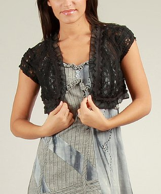 Black Lace Ruffle Lili Shrug