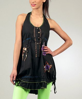 Black Backless Patty Halter Tunic