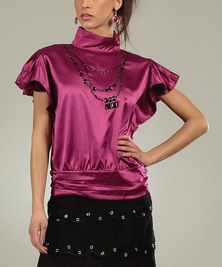 Fuchsia Shine Corine Mock Neck Top
