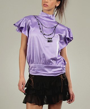 Purple Shine Corine Mock Neck Top