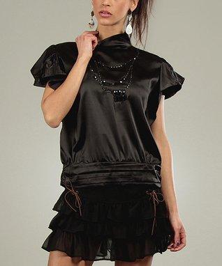 Black Shine Corine Mock Neck Top