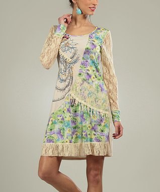 Beige Lace Patchwork Gretta Scoop Neck Dress