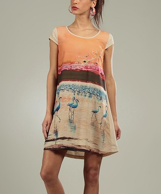 Orange Flamingo Pauline Scoop Neck Dress