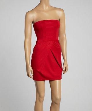 Avital Red Strapless A-Line Dress