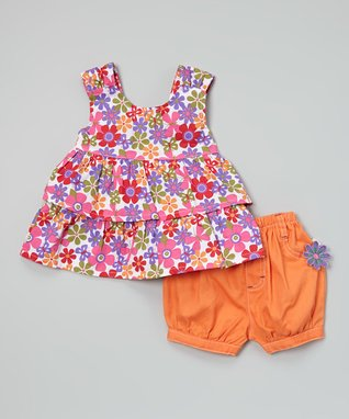 Duck Duck Goose Purple Floral Top & Orange Shorts - Infant