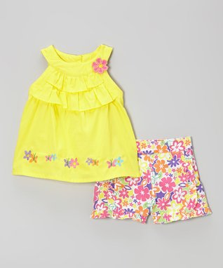 Duck Duck Goose Yellow Ruffle Yoke Top & Pink Floral Shorts - Infant