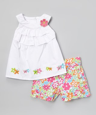 Duck Duck Goose White Ruffle Yoke Top & Pink Floral Shorts - Infant