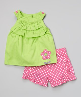 Duck Duck Goose Green Ruffle Yoke Top & Pink Polka Dot Shorts - Infant