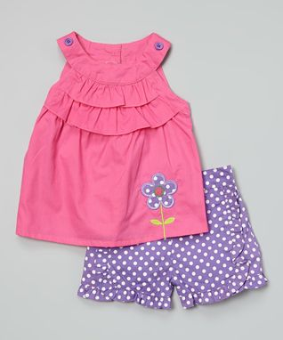 Duck Duck Goose Pink Ruffle Yoke Top & Purple Polka Dot Shorts - Infant