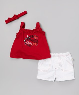 Duck Duck Goose Red & White 'Love Hugs' Poplin Top & Shorts Set - Infant
