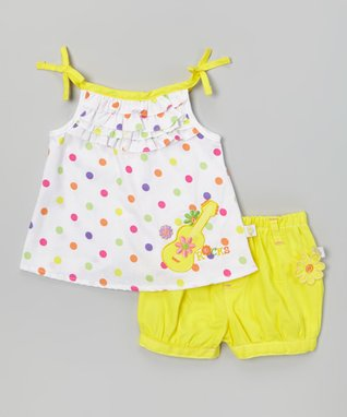 Duck Duck Goose White Polka Dot Guitar Top & Yellow Poplin Shorts - Infant