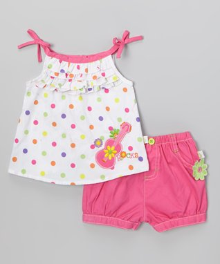 Duck Duck Goose White Polka Dot Guitar Top & Pink Poplin Shorts - Infant