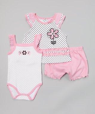 Baby Essentials Pink & White Zigzag Cap-Sleeve Dress & Diaper Cover - Infant