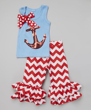 Red & Blue Anchor Tank & Ruffle Pants - Infant, Toddler & Girls