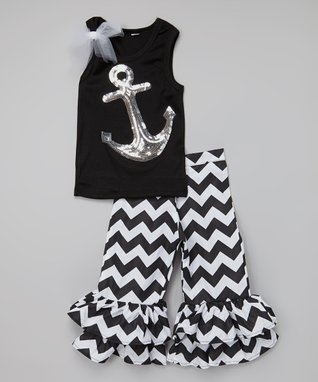 Black Zigzag Top & Ruffle Pants - Infant, Toddler & Girls