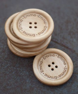 Large Light Wood Personalized Button - Set of Eight