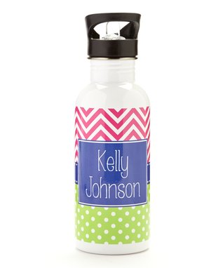 Green & Pink Zigzag Personalized Water bottle