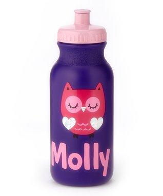 Purple & Pink Personalized Owl Spout-Top Water Bottle