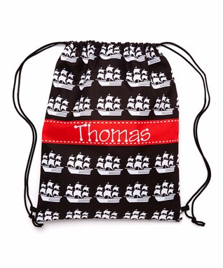 Black & Red Pirate Personalized Drawstring Tote