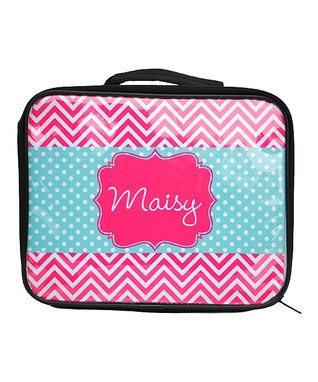 Pink Zigzag & Polka Dot Personalized Lunch Box
