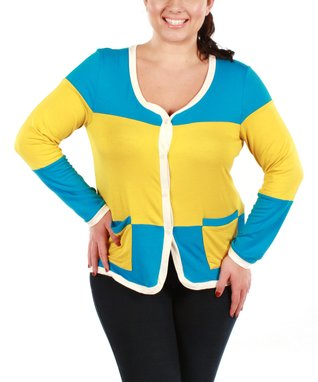 Aster Yellow & Turquoise Stripe Cardigan - Plus
