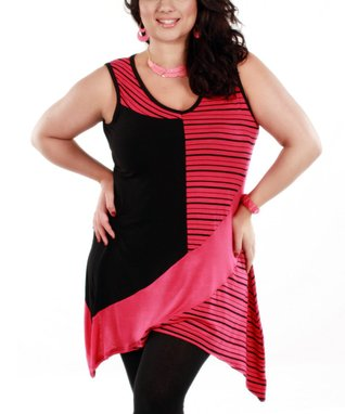Jasmine Black & Pink Stripe Sidetail Sleeveless Top - Plus